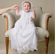 New Toddler Baby Baptism Christening Dress Lace First Communication Gown +Bonnet