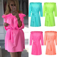 New Women Summer Candy Color Casual Off Shoulder Ruffle Split Bandage Mini Dress