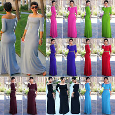 Women Middle Sleeve One Shoulder Off Shoulder Bodycon Maxi Long Prom Robe Dress