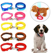 Pet Dog Puppy Cat Nylon Adjustable Polka Dot Collar Traction Rope Leash Bell Set