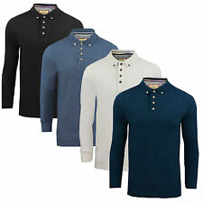 Mens Long Sleeved Polo T-Shirt Brave Soul New Lincoln Pique Cotton Collared Top