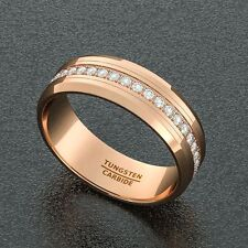 Mens Wedding Band Rose Gold 8mm Tungsten Ring Polished Fully Stacked CZ Beveled