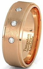 Mens Wedding Band 8mm Rose Gold Tungsten Ring Brushed 3 CZ Step Edge Comfort Fit