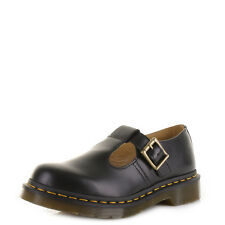 Womens Dr Martens Polley Black Smooth T Bar Leather School Work Dm Shoes Uk Size