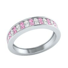 0.55 ct Real Light Pink Sapphire & Diamond Solid Gold Half Eternity Wedding Band