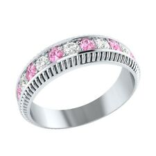 0.50 ct Real Light Pink Sapphire & Diamond Solid Gold Half Eternity Wedding Band
