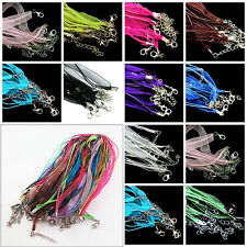 Lots 5/10X Organza Ribbon Cord Lobster Clasps Chains Necklace Jewelry Craft 48CM