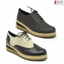 Womens Black Oxford Wedge Heels Lace Up Platform Retro Casual Creeper Shoes