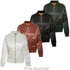 Ladies Womens Satin Quilted Ma1 Jacket Retro Army Flight Vintage Biker Bomber