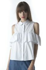DO + BE white cotton button up open cold shoulder ruffle top blouse shirt