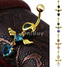 Navel Bar Belly Dance Zircon Crystal Angel Wing Body Pierce Jewelry Choose Color