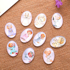 Mixed Baby Angel Wings Pattern Oval Glass Dome Seals Cabochon Jewelry Making