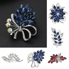 Gorgeous Flower Bouquet Glass Crystal Rhinestone Brooch Pin Wedding Prom Brooch