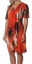 Drape Dress LILIA WHISPERS Red Turquoise Plus Sizes 10 - 18 Women Crossover