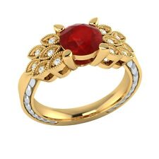 0.85 ct Natural Ruby & Certified Diamond Solid Gold Wedding Engagement Ring