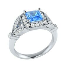 0.95 ct Real Blue Topaz & Natural Diamond Solid Gold Wedding Engagement Ring