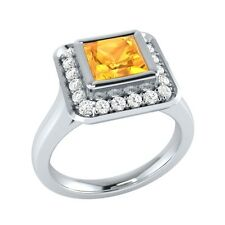 0.65 ct Natural Citrine & Certified Diamond Solid Gold Wedding Engagement Ring