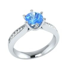 0.95ct Real Blue Topaz & Natural Diamond Solid Gold Wedding Engagement Ring