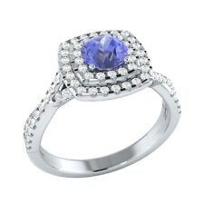0.85ct Natural Tanzanite & Certified Diamond Solid Gold Wedding Engagement Ring