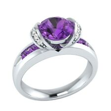 1.10 ct Natural Amethyst & Certified Diamond Solid Gold Wedding Engagement Ring