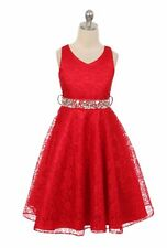 New Flower Girl Red Dress Christmas Pageant Wedding Formal Birthday Party Fancy