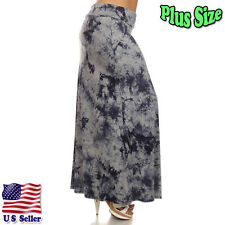 (Plus Size) Tie dye Print High Waist Self Banded Maxi Skirt S832 TDY GY-X_M