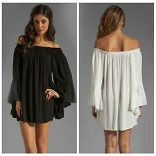 Boho Women Solid Ruffle Chiffon Off Shoulder Mini Dress Tunic Summer Beach Dress