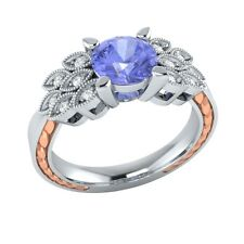 0.85 ct Natural Tanzanite & Certified Diamond Solid Gold Wedding Engagement Ring