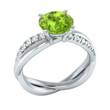 1.45 ct Natural Peridot & Certified Diamond Solid Gold wedding Engagement Ring