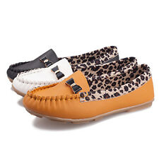 Women's Shoe Faux Leather Flat Leopard Moccasin Bow Slip-on Loafer Shoe Stylish