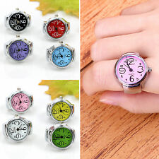 2016 Fashion Womens Finger Ring Watches Worship Rings Steel Round Dial Elastic