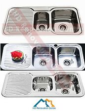 Bright Long Stainless Steel Kitchen Sink Double Right Hand Bowl with Drainer