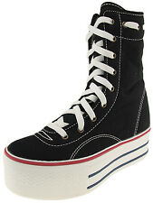 Maxstar Women's 9 Holes Middle Boots Canvas Platform Sneakers Shoes
