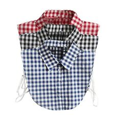 Women Girls Detachable Peter Pan Shirt Collar Plaid Choker Blouse Collar Hot