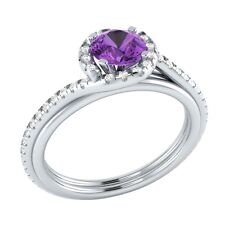 0.75 ct Real Purple Amethyst & Certified Diamond Solid Gold Engagement Ring