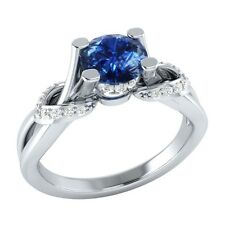 0.75 ct Real Blue Sapphire & Diamond Solid Gold Wedding Engagement Ring