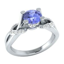 0.75 ct Natural Tanzanite & Diamond Solid Gold Wedding Engagement Ring
