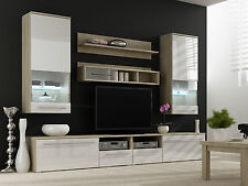 BMF LUNA Wall Unit High Gloss Fronts TV Stand Entertainment Wall Cabinets Glass