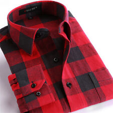 2016 Classic Red Plaids Checks Men's Long Sleeve Flannel Casual Dress Shirt Top