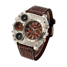 Mens Quartz Sport Military Stainless Steel Dial Leather Band Wrist Watch US Ship