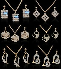 Fashion Dangle Earrings Rhinestone Crystal Pendant Necklace Charming Hot Jewelry