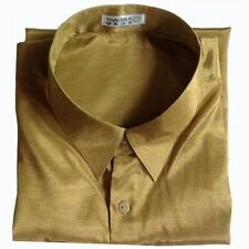 Mens Thai Silk Casual Dress Shirt Gold Short Sleeve M - L - XL - 2XL - 3XL New