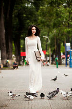 Pure White Vietnam AO DAI CUSTOM MADE, Chiffon Dress & Satin Pant, Best Price