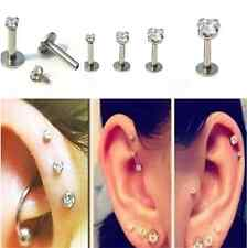 2PCS EAR CARTILAGE BODY PIERCING TRAGUS HELIX STUD RING EARRING BARBELL CRYSTAL
