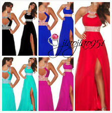 STOCK Long Chiffon Bridesmaid Formal Ball Party Cocktail Evening Prom Dress 6-20