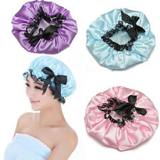 Luxury Ribbon Shower Cap Hat Elastic Waterproof Hair Care Lady Bath Bowknot Lace