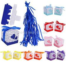 50pcs Wedding Favours Baby Shower Party Supplies Cake Gift Candy Boxes + RIBBONS