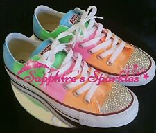 Adult Multicolour Neon Customised Converse With Crystals 3 4 5 6 7 8