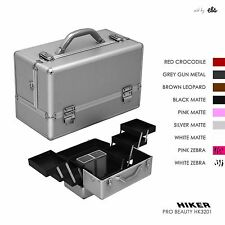 Professional Makeup Cosmetic Beauty Case Organizer, 6 Trays & 2 Brush Holders