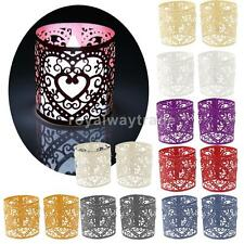 6pcs Paper Heart LED Tea Light Holders Wedding Home Party Decoration